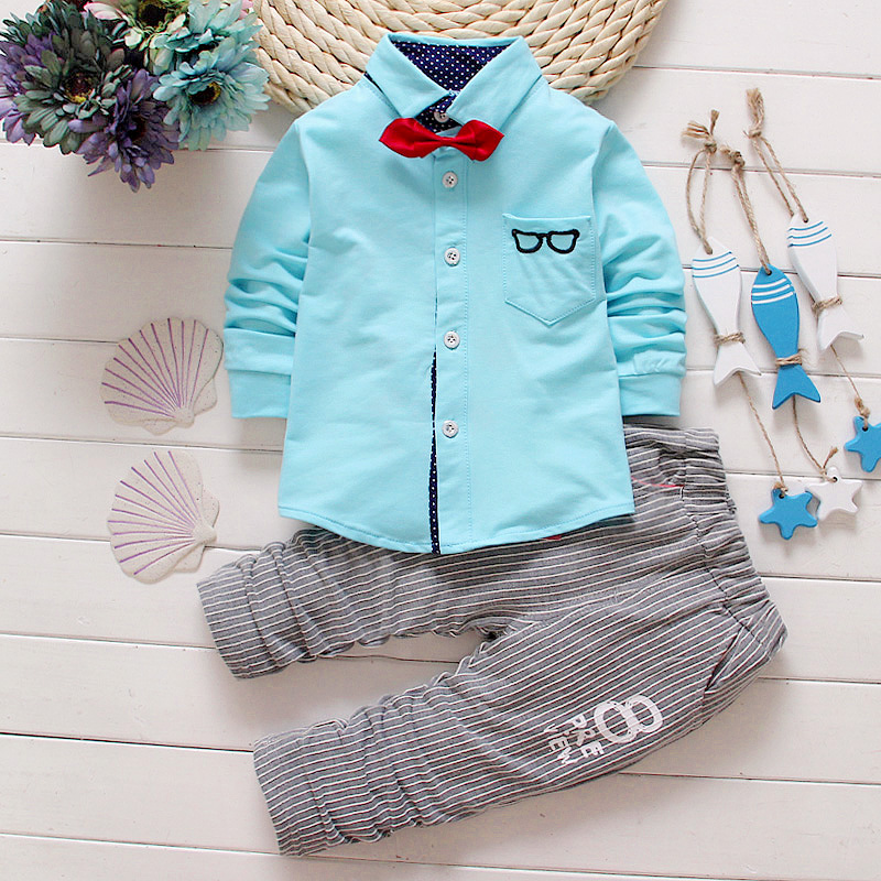 2016 Spring new kids boys clothes glasses mother & kids clothing long-sleeved boy shirts & pants 1-4 years children clothing set(China (Mainland))