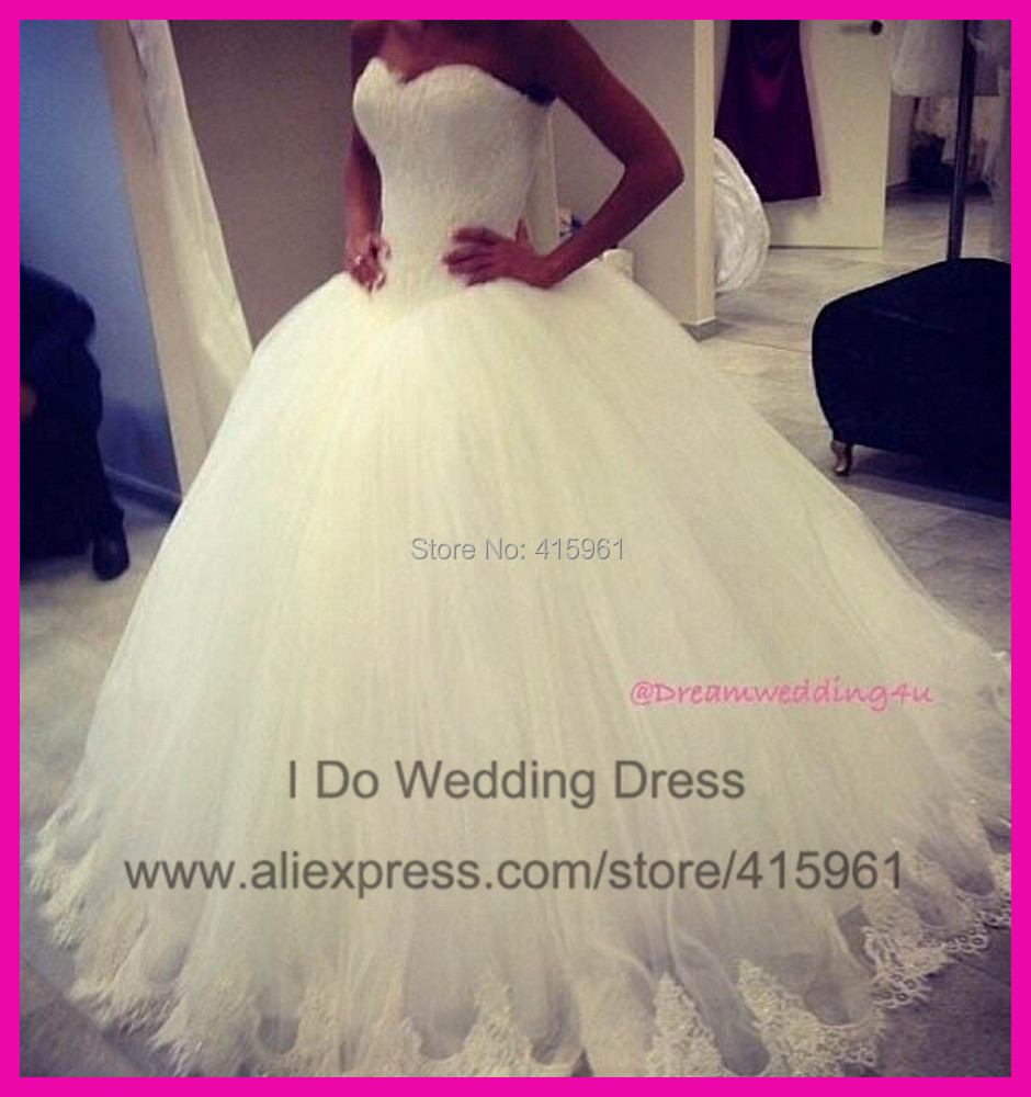 2014 Elegant Custom Made Floor Length Tulle Lace Ball Gown Bridal Wedding Dresses Plus Size W2863(China (Mainland))