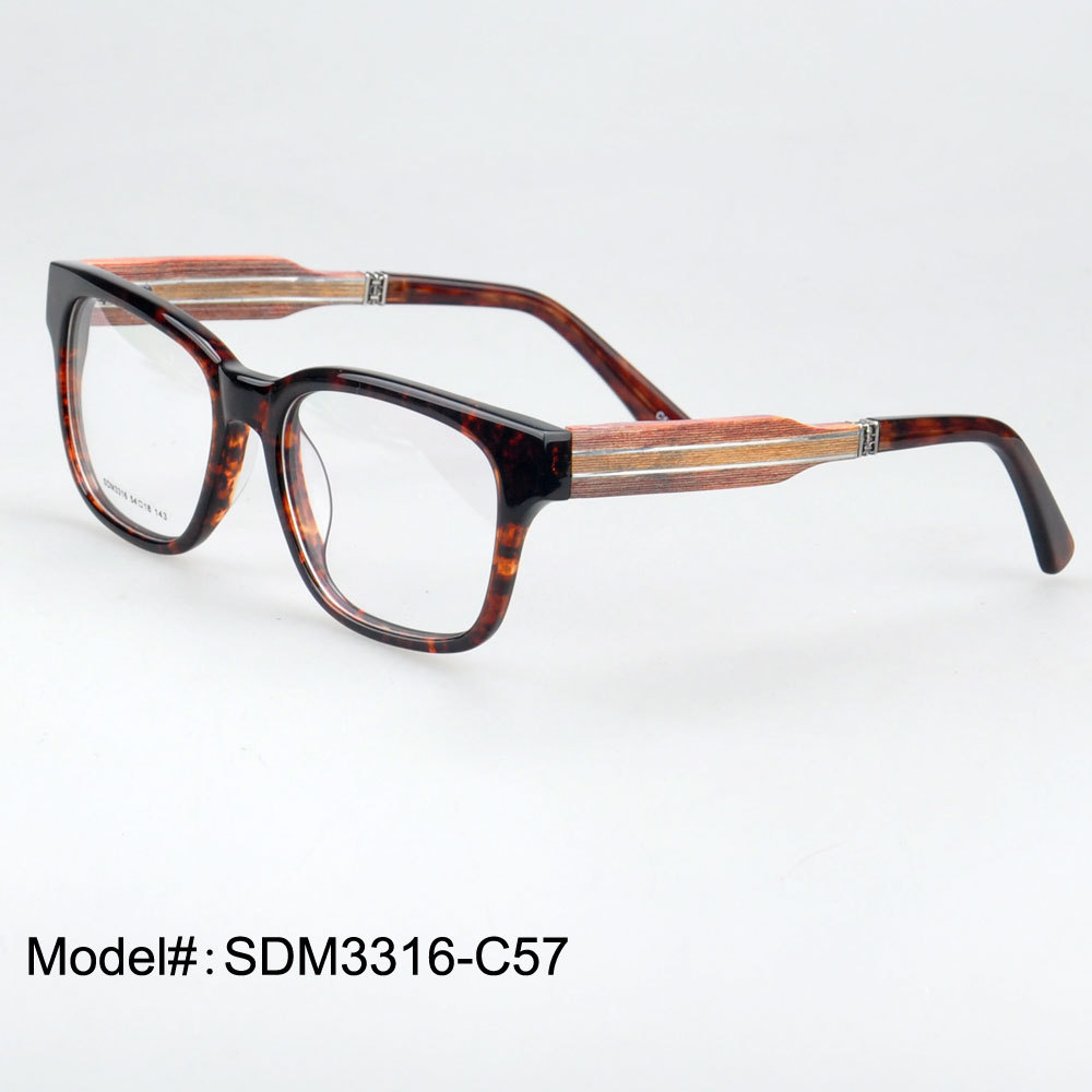 Acetate Eyeglasses Frame : SDM3316 full rim quality retro acetate frame and wooden ...
