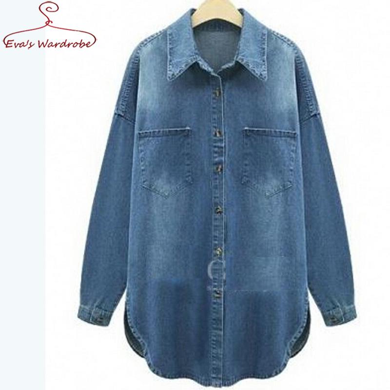 Plus size women denim shirt classic loose 5xl long sleeve for Ladies light denim shirt