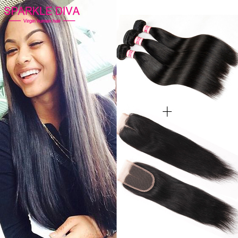 Unice Hair Bundles with Lace Closures Grade 7A Malaysian Straight Hair with Closure 3 Bundles Malaysian Virgin Hair with Closure<br><br>Aliexpress