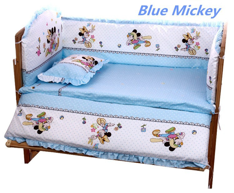 Discount! 5PCS Mickey Mouse Competitive Price Bedding Set for Babies,Lovely Design Baby Cot Set,include (bumpers+matress+pillow)(China (Mainland))