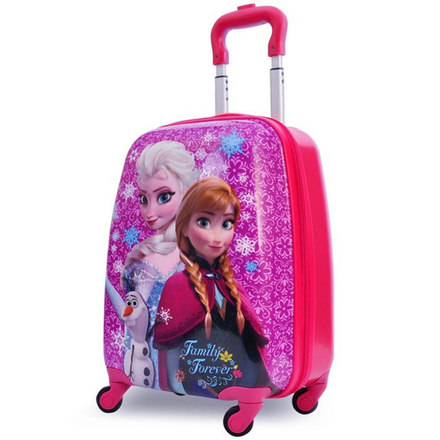 "2015 snow elsa Anna stereo girl Travel luggage suitcase cartoon Outdoor 18"" Pull rod box school bag Boarding box children gift(China (Mainland))"