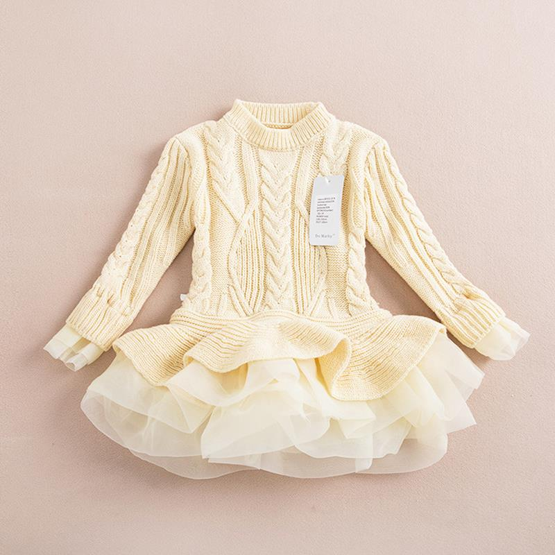 Girls Dress Winter 2015 Brand Knitted Sweater Dress Princess Costume Girls Pullovers Kids Clothes Children Dress Long Sleeve