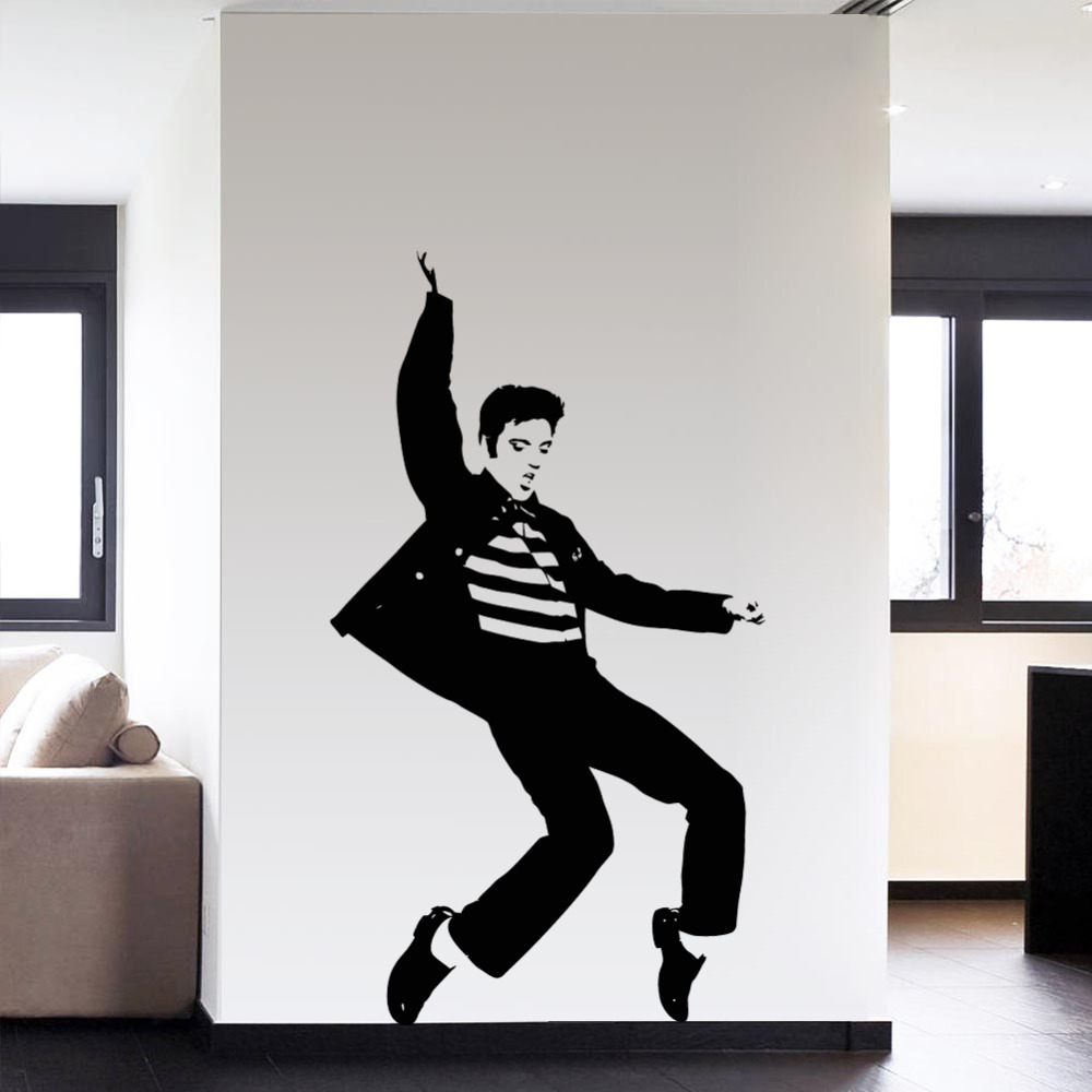 Pvc cool dancing elvis presley pattern bedroom wall for Cool wall art for bedroom