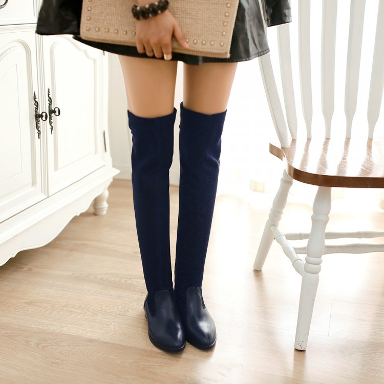 Free shipping women's biker boots fashion fashion over the knee boots pointed higher elastic fabric custom sizes 30-49HR01269(China (Mainland))