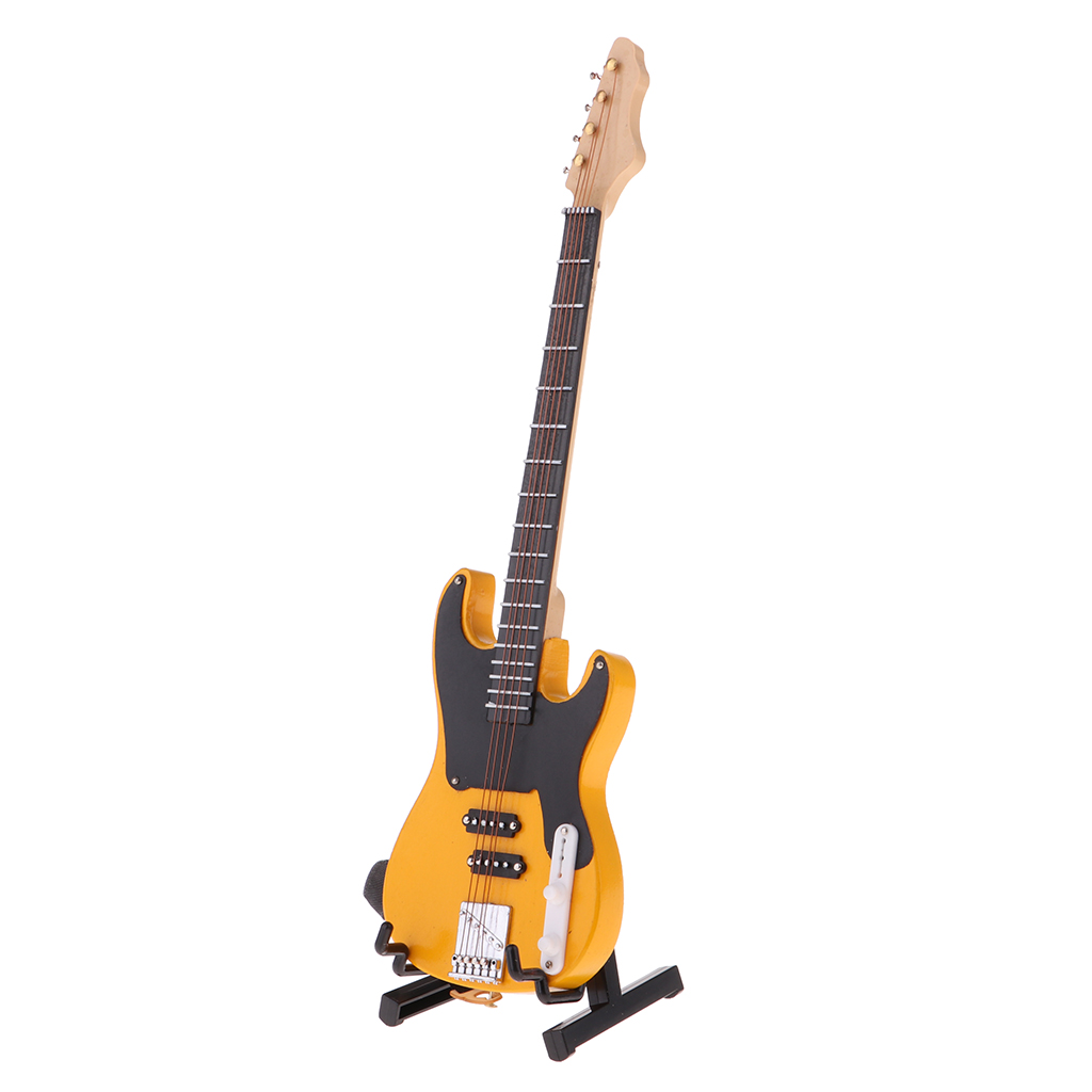 1/6 BJD Wooden Electric Bass Model with Stand and Strap Dolls House Miniature Display Decor Yellow