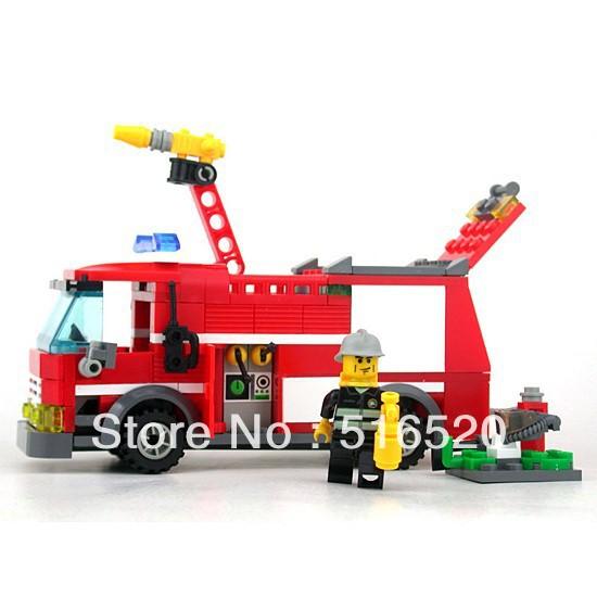 Kazi Fire Fight Series Fire Engine Building Block Sets 206+pcs Enlighten Educational DIY Construction Bricks toys 8054(China (Mainland))