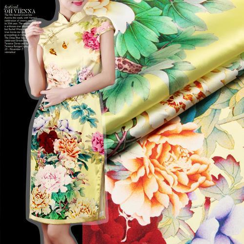 2015 New Wide-format digital inkjet printing heavy pure silk fabric stretch satin fabrics clothing material Autumn yellow peony - Sanni Silk store
