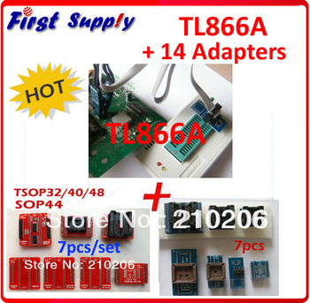 Free shipping! cheap TL866A USB Programmer + 14 adapters + IC clamp, WIN7 64 Bit system, 13000+ chips, best price!