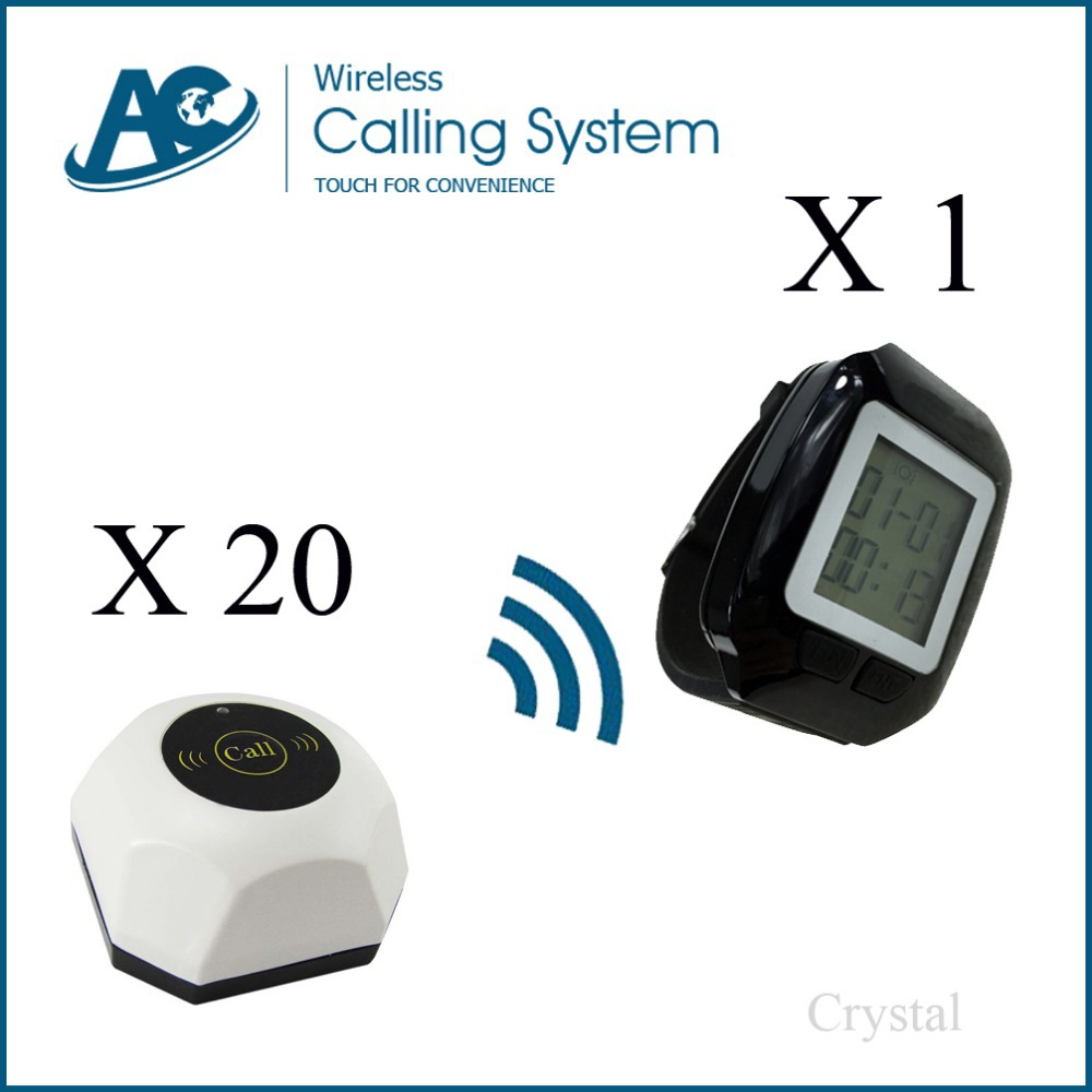 1 watch+ 20 buttons Restaurant pager system long range pager system Restaurante Wireless Pager System call button pager system(China (Mainland))