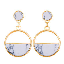 Round Geometric Acrylic Resin Drop Earrings For Women Vintage Gold Color Dangle Za Earring Boho 2019 Female 17KM Fashion Jewelry(China)