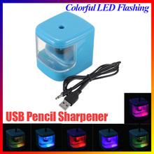 Automatic Fahion Design Convenient AUTO USB Battery Powered Electric Color Flash Pencil Sharpener LED Light home School Desktop(China (Mainland))