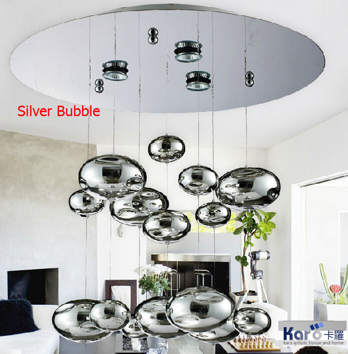 H60cm Murano Due Bubble Glass Ceiling Light Chrome Lampshade Decoration Fixtures Restaurant Bedroom Home Hanging Lamp 110-240V(China (Mainland))