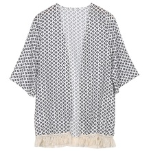 HOT SALE 2015 new aririval Women Tops Women Blouse Summer Top Chiffon Shawl Cardigan Kimono Printed Fashion(China (Mainland))