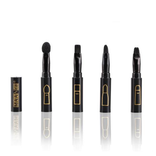 Hot New Fashion Black Portable 4in1 4pcs Beauty Makeup Cosmetic Foundation Eyeshadow Lip Brushes Set Kit