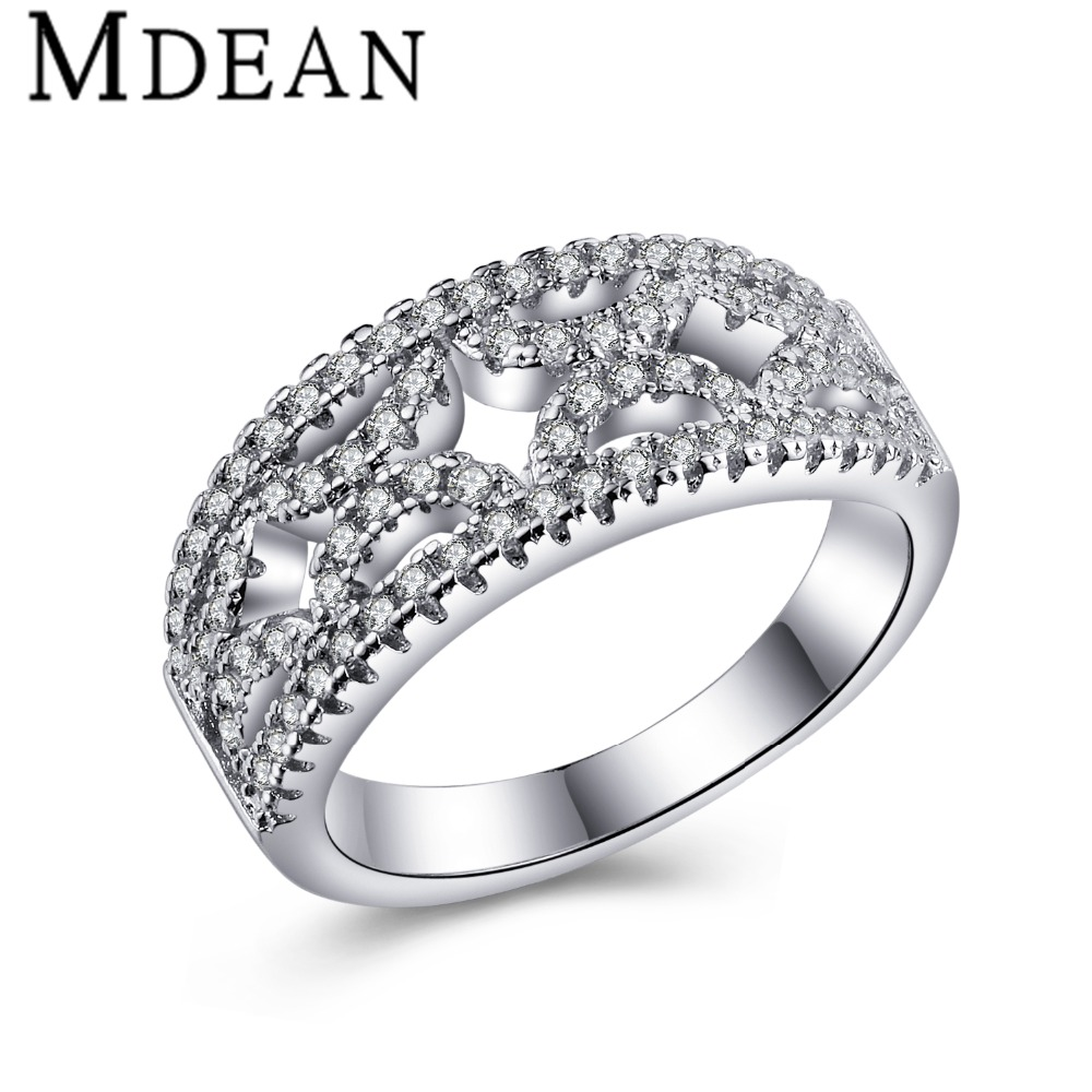 MDEAN Wedding women Rings White Gold plated rings for women Jewelry Engagement Bague vintage ring fashion accessories MSR330(China (Mainland))