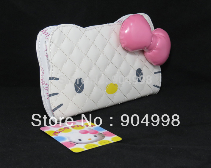Hot selling Hello Kitty Wallet Big Face hello kitty purse with Pink Bow Long Size 5pcs/lot(China (Mainland))