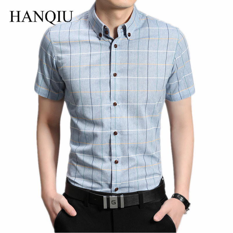 2016 new arrival summer checkered shirt men short sleeve
