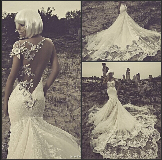 2014 vintage crystal bead gorgeous lace sexy backless for Vintage backless wedding dresses