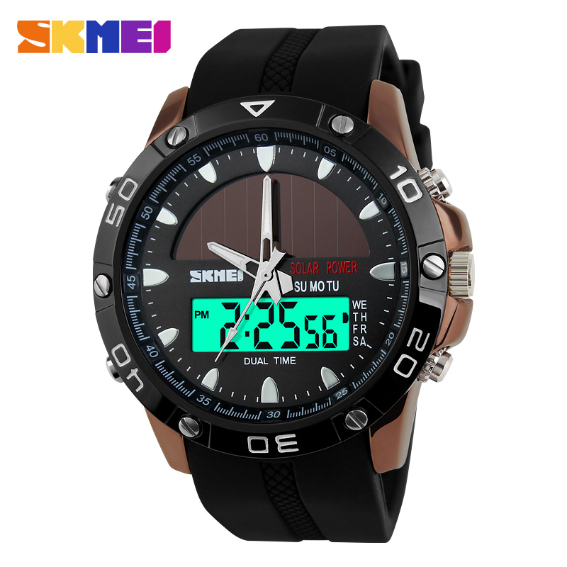 2016 SKMEI Men's Solar Energy Quartz Digital Watch Men Sports Watches LED Display Outdoor Military Waterproof Wristwatches Clock(China (Mainland))