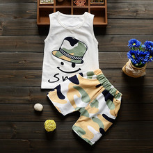 2016 Baby Boy Girl  Summer  Clothing Set short Shirt + Shorts Kid Boy Girl suit childern Cartoon Sports Suit Vest clothes Set(China (Mainland))