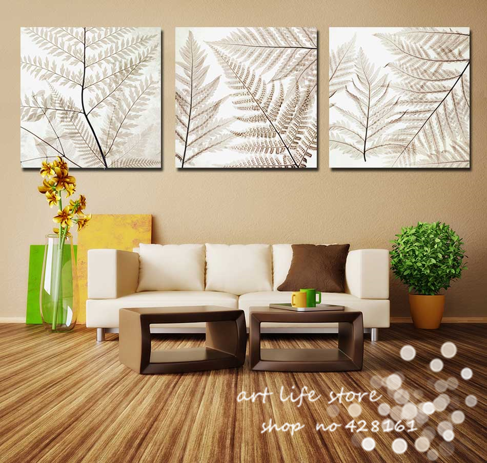 New Design 3Panels Wall Art Modern Abstract All Loved Leaves Painting Combination Paint Decorative Picture Canvas Print decor(China (Mainland))