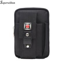 Soperwillton Brand 2016 Man Waist Pack Oxford Men's Waist Bag Fashion Waist Bag For Mobile Phone Fanny Pack Coin Black Purse(China (Mainland))