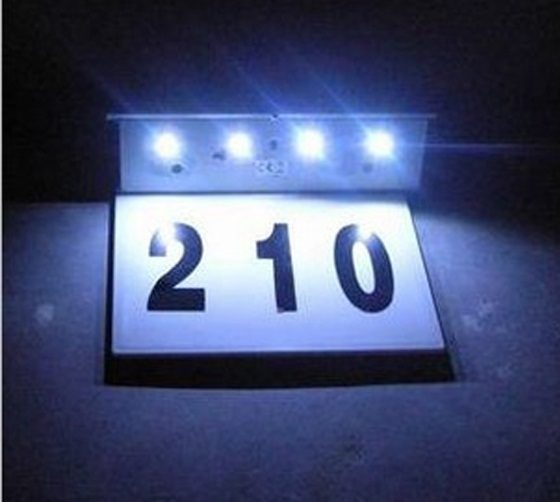 Free shipping!!Export 4 LED stainless steel solar lights solar house number light house(China (Mainland))