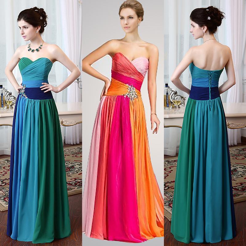 Stock 30% Sweetheart Colorful Chiffon Dress Party Evening Elegant Long 2016 $70 - Suzhou Babyonline Factory store