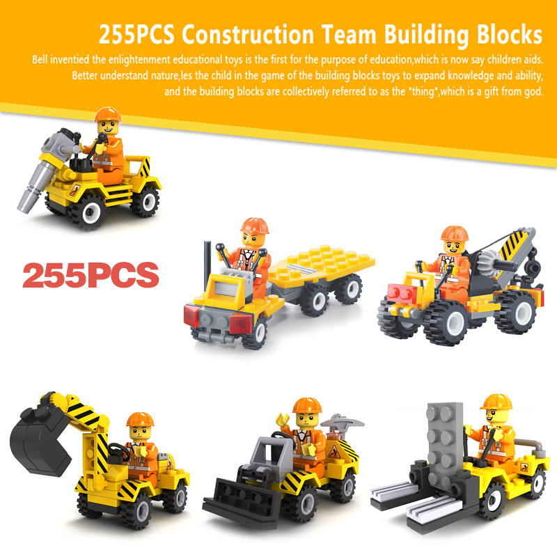 City construction team Building blocks Bricks Sets Bulldozer/Excavator/Forklift/Little Crane/Flatbed Drill TruckEducation Toys(China (Mainland))