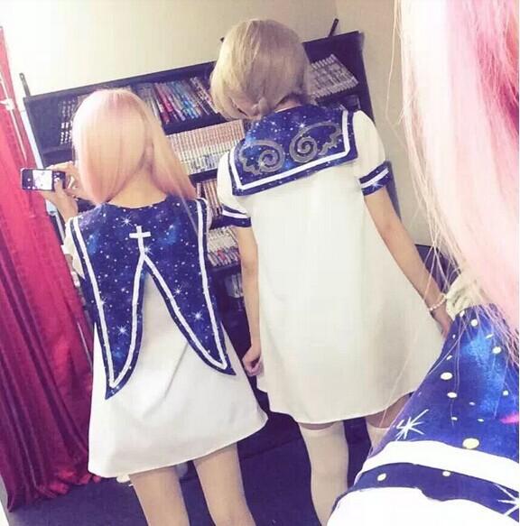 J-fashion sailor collar&amp;hag collar starry sky navy lolita dress white cute cosplay mini dresses Одежда и ак�е��уары<br><br><br>Aliexpress