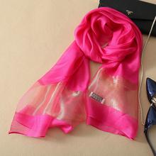 New Silk Women Scarf 12Colors Fashion Black Stitching Gold Silk Scarves Long Section Soft Shawl Fashion Muffler(China (Mainland))