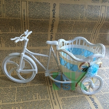 New Arrival Rattan Tricycle Design Storage Basket floats Vase Plant Stand Holder Wedding Party Decoration Office Bedroom(China (Mainland))