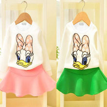 Fashion Baby Kids Girls  Duck Tops shirt Skirt Outfits Set Dress 1-6Y UK(China (Mainland))