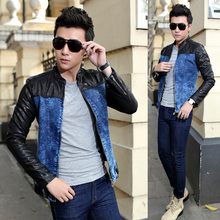 Men's Fashion Clothing , Spring Fall Cool Mens Crew Neck PU Leather Sleeves Denim Jacket Coat , Motocycle Slim Fit Jean Jackets(China (Mainland))