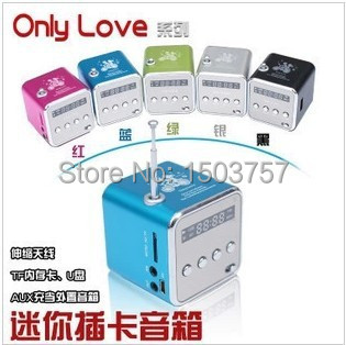 TD-V26 1Mini MP3 Player TF Card USB Disk Micro SD FM Radio Line / Sound Box Digital Portable Speaker