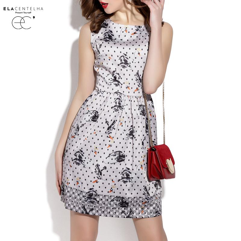 ElaCentelha Brand Dress Summer Women Dot Print Contrast Color Patchwork Drsss Sleeveless Empire Mini Women's New A Line Dresses(China (Mainland))