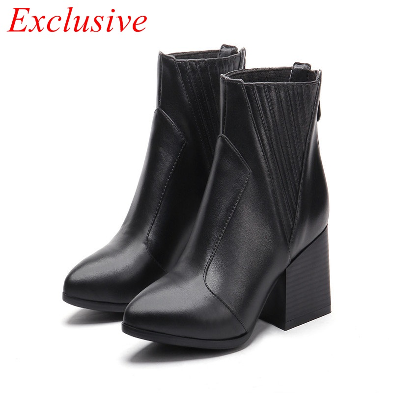 Simple 2015 autumn fashion women shoes new leather zipper pointed high-heeled ankle boots black ankle boots white boots 34-41(China (Mainland))