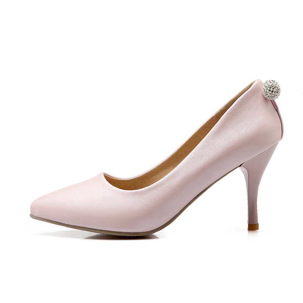 Big Size 34-43 2017 New Fashion high heels women pumps thin heel classic white blue pink sexy prom wedding shoes(China (Mainland))