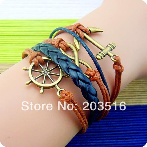 2014 Fashion Vintage Multilayer Anchors Rudder Word Leather Bracelet, Men Women Bracelets & Bangles Jewelry YN4005 - jewelry_sky2010 store