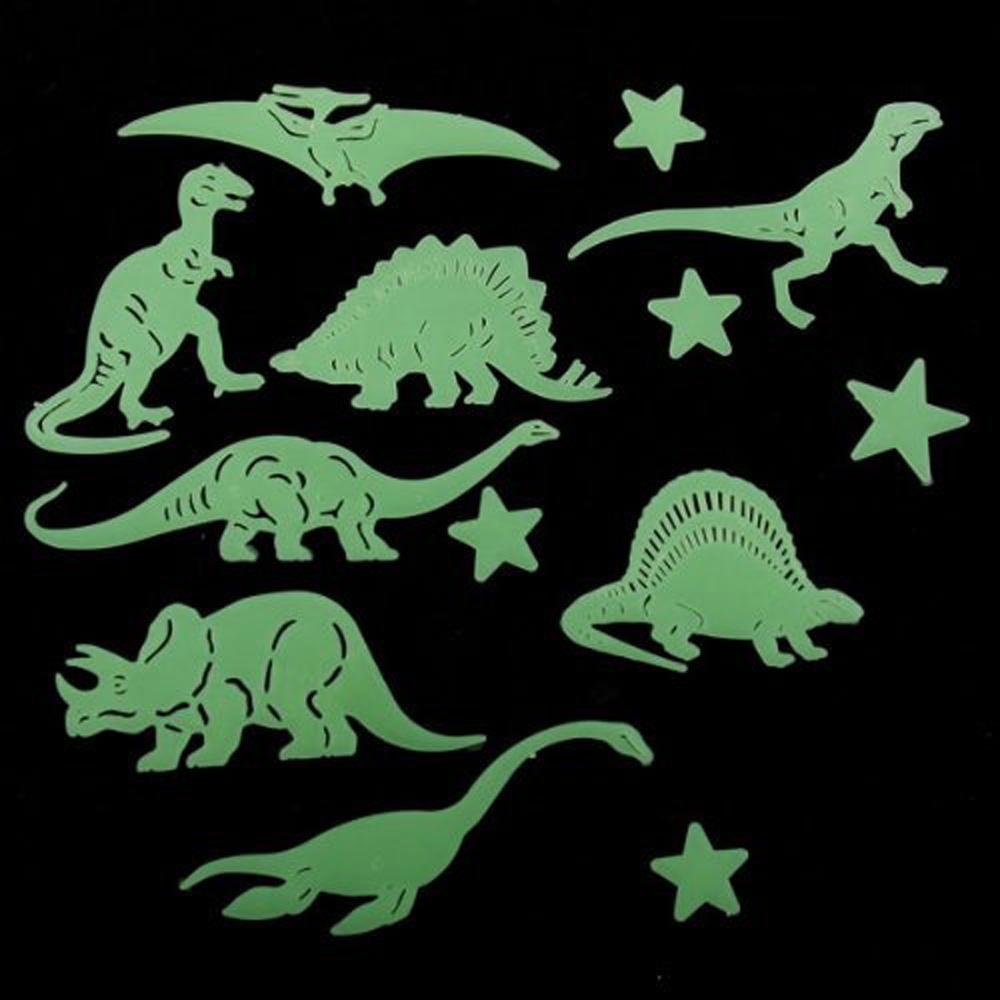 2015 Best Hot Sale 13 Pcs Plastic Glow In The Dark Star Dinosaur Fluorescent Stickers(China (Mainland))