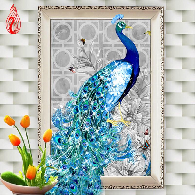 YGS-105 DIY 5D Diamonds Embroidery Diamond Mosaic New Peacock Soul Love Round Diamond Painting Cross Stitch Kits Home Decoration(China (Mainland))