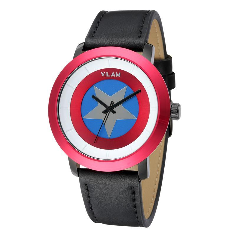 2016 Top Brand VILAM Cartoon-Watch Leather Wristwatch Captain America Design Japan Miyota Quartz Movement Men Watches V2063G(China (Mainland))