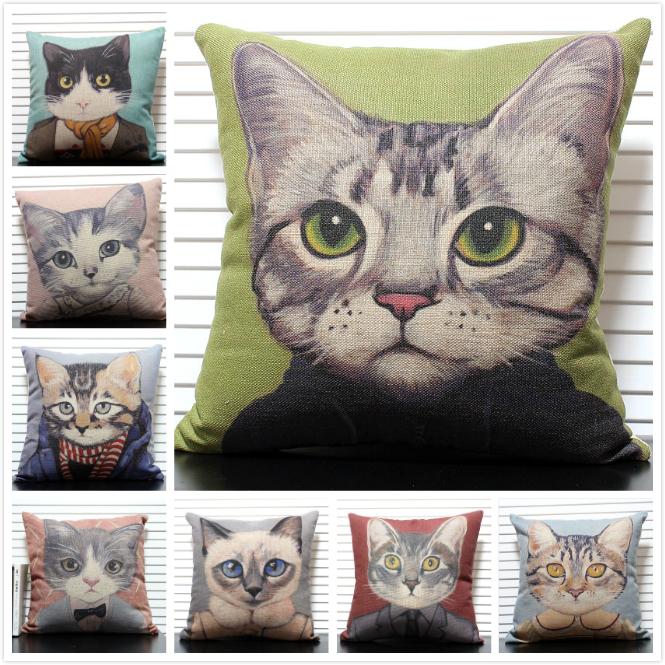 Beautiful Cartoon Cat various designs Linen Cotton Cushion Covers throw pillow case 45 *45cm devor - Tootkook Pillow Specialty Stores store