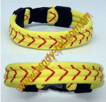 New Arrival Titanium Softball Bracelet, Yellow Cord with Red Stitching, Flat Rubber End Pieces, 100pcs/lot, Free Shipping