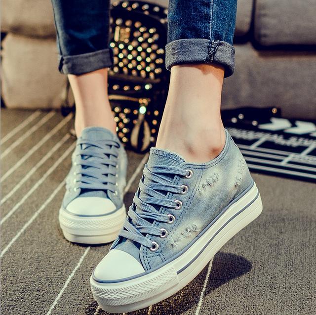 [Miss C] 2015 Женская Обувь Старинные Джинсовой Холст Платформы Плоские Туфли Высота ...