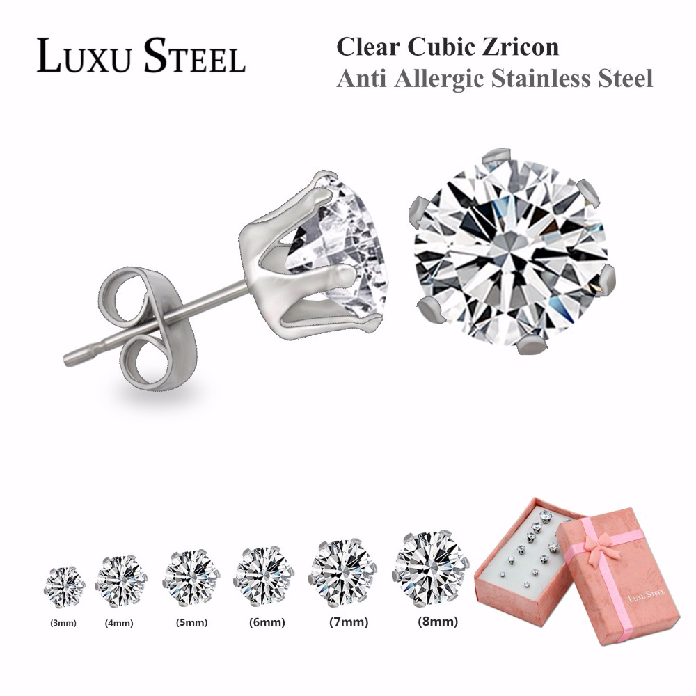 Luxusteel CZ Diamond Stainless Steel Stud Earring Set 3-8mm 6 Pairs Per Set, Round Shape(China (Mainland))
