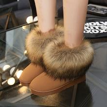 Botas clásico de invierno nieve de lana de imitación de imitación de gran piel de zorro zapatos para No slip tobillo de arranque corto 35-40(China (Mainland))