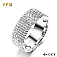 YFN Fashion Accessories Full 7-row CZ Wedding Rings Anel Feminino 2015 NEW 925 Sterling Silver Jewelry Rings For Women GNJ0473(China (Mainland))